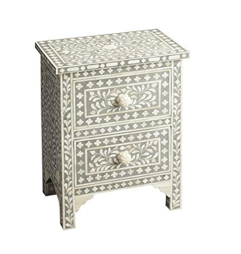 Antique Rustic Floral Bone Inlay 1 Drawer 2 Door Side Table Handmade Inlay Furniture (Side Bone Table Inlay)