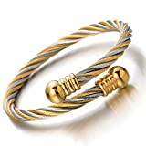 Elastic Adjustable Steel Twisted Cable Cuff Bangle Bracelet for Mens for Women Silver Gold Two-tone