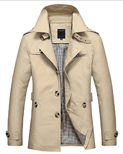 Breasted Lapel Single 2 Windbreaker Mens Long Causal Sleeve Coat Gocgt xEwBY1qg