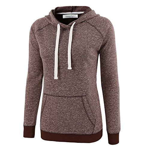 Down Womens Raglan Hoodie (Vetemin Women Casual Basic Cotton/Poly Vintage Soft Long Sleeve Hoodies Sweater Brown Melange L)