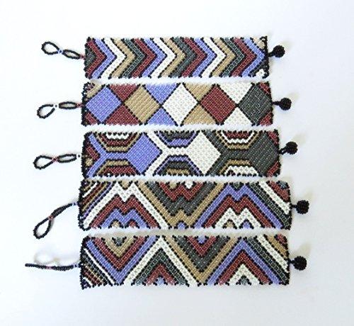 African Zulu beaded flat bracelet wide - Purple/white/gunmetal