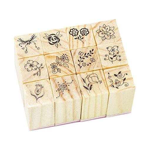 Wood Rubber Stamps Set 12 Pcs with Square Lace Pattern for DIY Decor Craft Card Making Scrapbooking Supplies