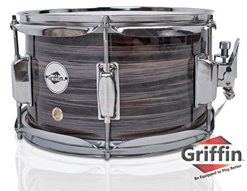 Popcorn Snare Drum by Griffin | Firecracker 10″ x 6″ Poplar Shell with Zebra Wood PVC|Soprano Concert Percussion Musical Instrument with Drummers Key and Deluxe Snare Strainer|Beginner & Professional