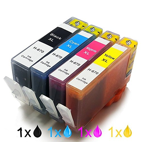 ment For HP 670XL 670 XL For HP670XL For HP670 Ink Cartridge Inkjet Cartridges Use For Deskjet Ink Advantage 3525 4615 4620 4625 5525 6526 Printer ()