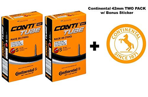 Continental Race 28'' 700x20-25c Bicycle Inner Tubes - 42mm Long Presta Valve - TWO PACK w/BONUS Conti Sticker by Continental