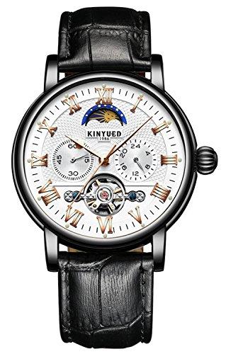 Moon Phase Automatic Watch Men Chronograph Tourbillon Skeleton Mechanical Multifunction Watches (White)
