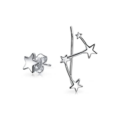 faf78f967 Celestial Star Stud and Constellation Ear Climber Earrings For Women  Mismatched 925 Sterling Silver: Amazon.co.uk: Jewellery