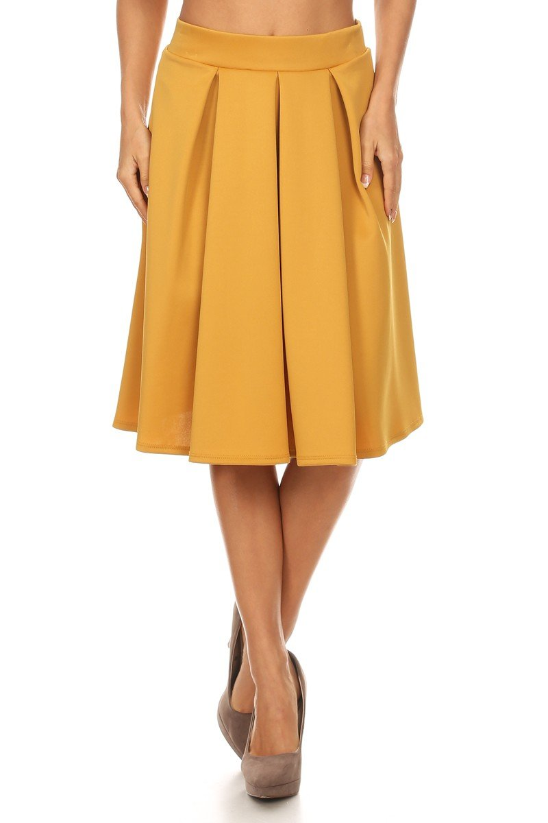 J2 LOVE Made in USA Pleated A Line Midi Skirt (XS-5X)