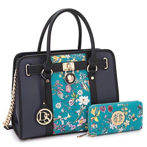 Multi Pockets Satchel for Women Designer Lady Spring Handbags and Purses Wallets Shoulder Bags Tote Work Briefcase (Blue Flower/Navy-1)