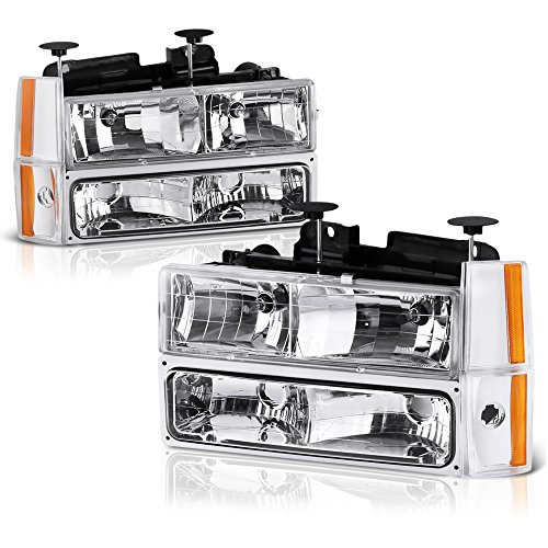 VIPMOTOZ For 1988-1993 Chevy C/K 1500 2500 3500 Pickup Suburban Blazer Headlights - Metallic Chrome Housing, Driver and Passenger Side ()