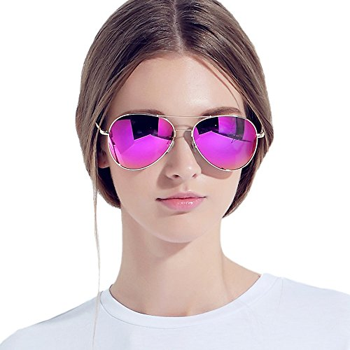 VEGOOS Classic Aviator Style With Polarized Mirror Lens Sunglasses - Polarized Sunglasses Aviator Pink