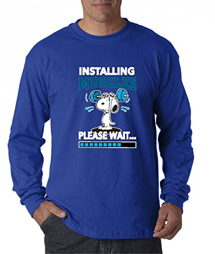 - New Way 433 - Unisex Long-Sleeve T-Shirt Installing Muscles Please Wait Snoopy Peanuts Workout Training Gym Large Royal Blue