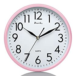 DreamSky 10 Silent Wall Clock, Battery Operated, Non-Ticking, Decorative Indoor/Kitchen Round Clock ,3D Numbers Display. Nice Pink Quiet Wall Clock For Kids/Girls/ Nursery Room .