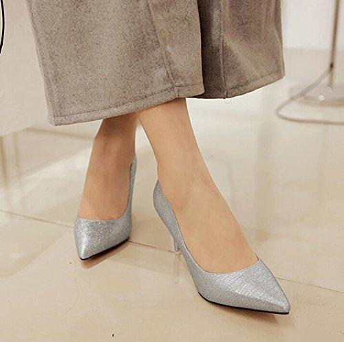 Easemax Donna Sexy Stiletto Con Paillettes Solide Punta A Punta Slip On Tacco Alto A Tacco Alto Con Pompon Argento
