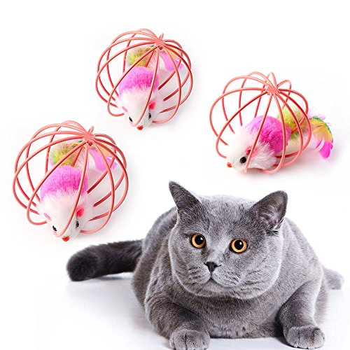 Hosaire Puzzle Prisoner Tease Cat Toys Iron Cage Mouse Soft Plush Beautiful Modeling Interactive Entertainment Exercise For Cats3Pcs Random