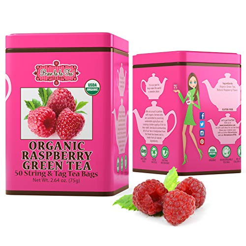 Brew La La Organic Green Tea - Natural Raspberry Flavor - 50 Tea Bag Tin - Low Caffeine Gourmet Tea - Certified Organic