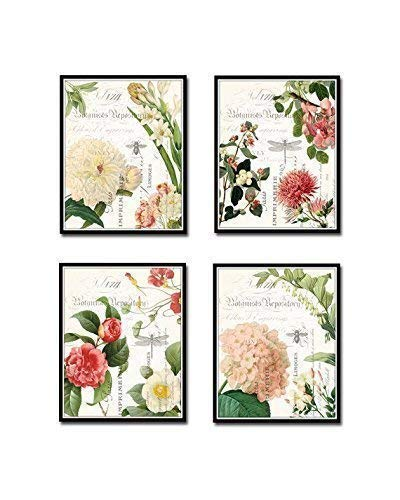 Spring Study French Botanical Collage Print Set of 4 Giclee Fine Art Prints - Unframed