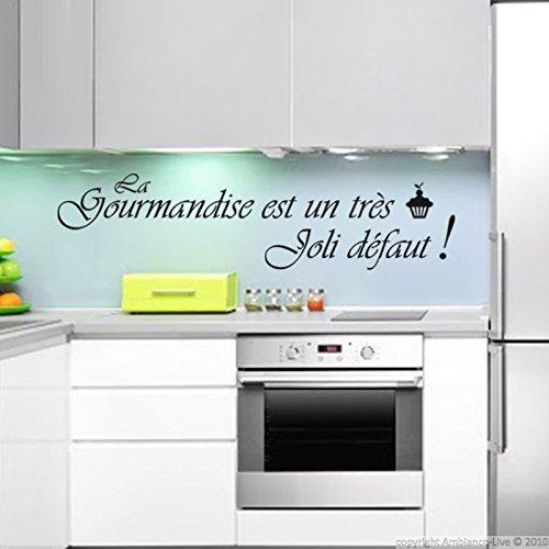 Noir 30 x 50 cm Ambiance-Live Sticker La gourmandise est Un tr/ès Joli d/éfaut