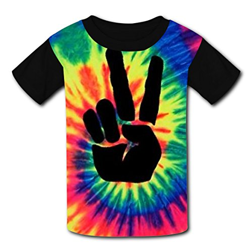 BYTimz Spiral Rainbow Victory T-shirts Graphic Crew Neck Tops for Boys Girls L -