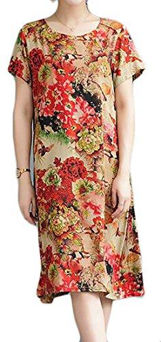 Cromoncent Femmes Linge Crewneck Manches Courtes Style Ethnique Robe Midi Lâche 13