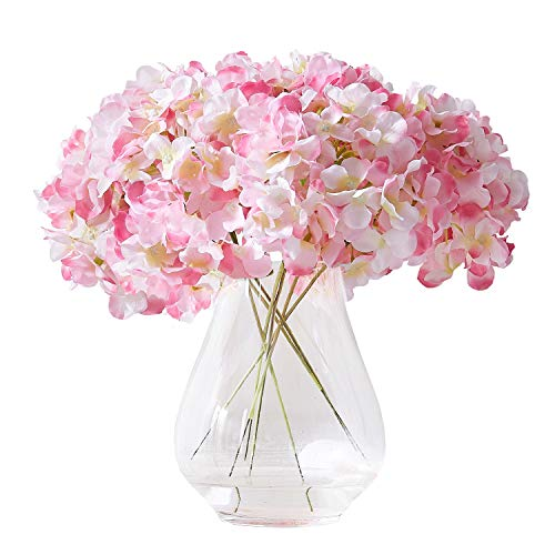 Kislohum Artificial Hydrangea Flower Heads Pink 10 with Stems Hydrangea Silk Flowers Head for Wedding Centerpieces Bouquets DIY Floral Decor Home Decoration ()