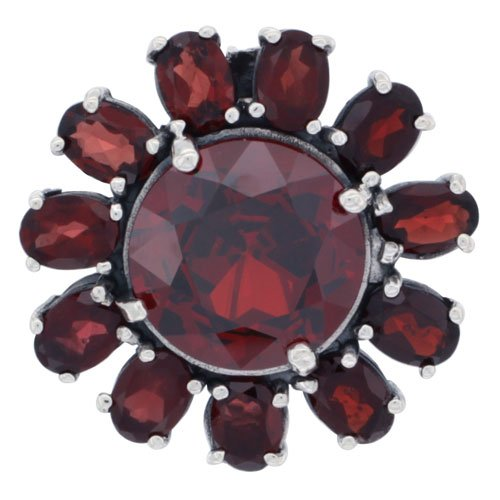 Sterling Silver Marcasite Large Flower Brooch Pin w/ Round Garnet Stones, 1 1/8 in. (29mm)