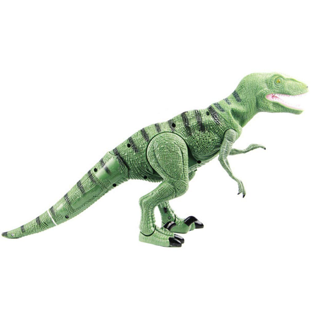 Kimanli Dinosaur Toy , Kids Large Walking Moving Model Velociraptor Lights Sounds Toys Gift (Green)