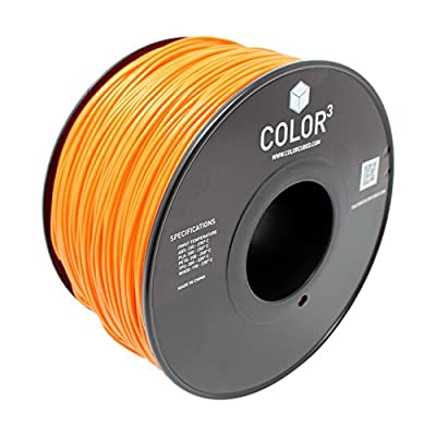 ColorCubed PLA Premium 3D Printer Filament 1kg Spool, 1.75mm, Orange