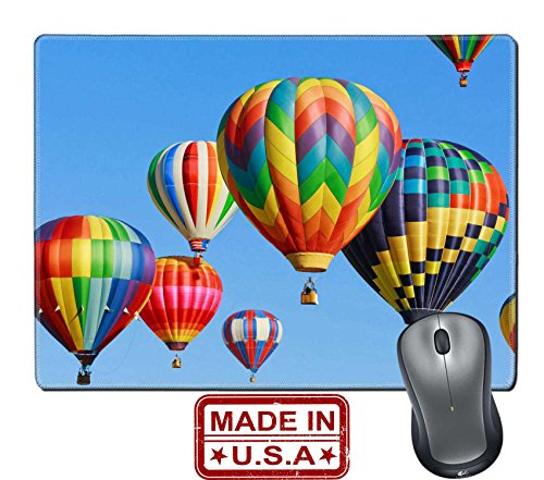 Balloons Hot Colorful Air - Liili Natural Rubber Mouse Pad/Mat with Stitched Edges 9.8