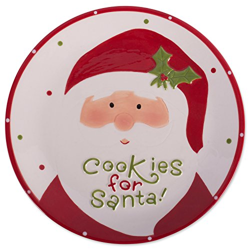 DII Cookies for Santa Christmas Cookie Serving Platter Holiday Christmas Décor - Red Santa - Serving Santa
