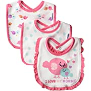 Gerber Baby-Girls Terry Dribbler Bib, Leopard, One Size (Pack of 3)