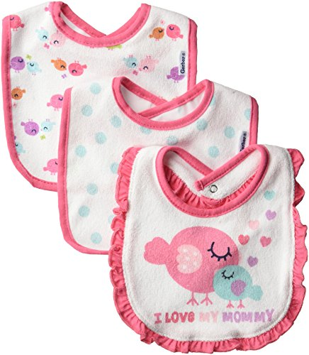 - Gerber Baby Girls' 3-Pack Dribbler Bib, little birdie, One Size