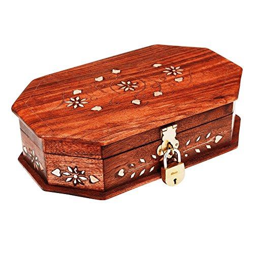 Treasure Chest Keys (Great Birthday Gift Ideas Handmade Decorative Wooden Jewelry Box With Free Lock & Key Jewelry Organizer Keepsake Box Treasure Chest Trinket Holder Lock Box Watch Box 8 x 5 Inches Anniversary Gifts)