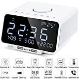 Digital Alarm Clock Radio, 5.5 Inch Large LED Display with Dimmer, Dual Alarm, Snooze, Sleep Timer,Dual USB Port for Charging, Battery Backup, Indoor Temperature, TF-Card, AUX-IN for Bedrooms (White)