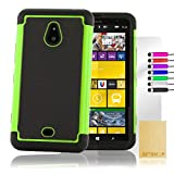 32nd® Shock proof dual protection case cover for Nokia Lumia 1320, including screen protector, cleaning cloth and touch stylus - Green