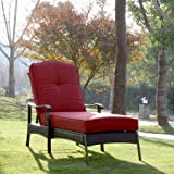 Providence Chaise Lounge, Provide a Comfortable Place for You to Relax Outside During Warm Weather, with a Powder-coated Steel Frame That Will Not Easily Tarnish, Red
