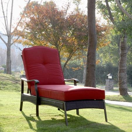 Providence Place - Providence Chaise Lounge, Provide a Comfortable Place for You to Relax Outside During Warm Weather, with a Powder-coated Steel Frame That Will Not Easily Tarnish, Red