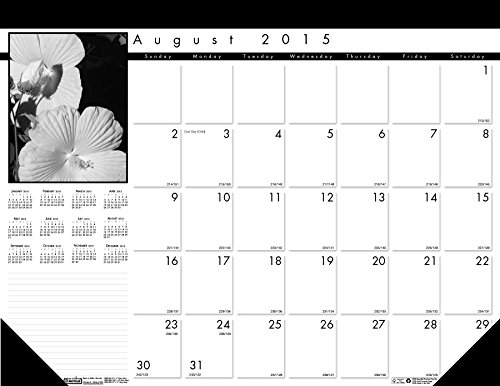 House of Doolittle 2015 - 2016 Academic Year Monthly Desk Pad Calendar, Black on White Series, 22 x 17 Inches (HOD1225-16)