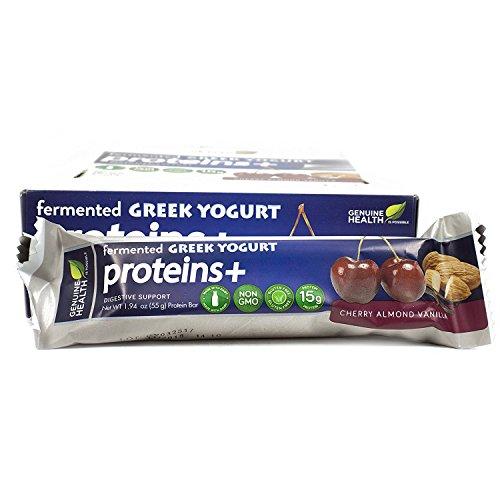 Genuine Health Fermented Greek Yogurt Protein+ Bar, Cherry Almond Vanilla, Box of 12-1.94 Ounce Bars