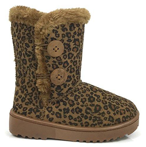 Leopard Print Leather Boot - Signature Little Girl's Kids Warm Winter Fur Boots Leopard 3 US Little Kid