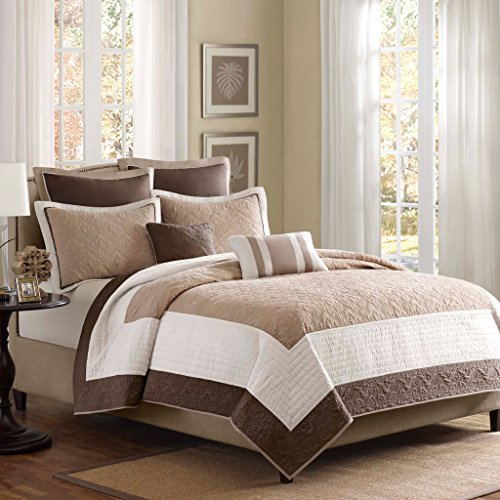 Madison Park Attingham 7 Piece Coverlet Set Size: King, Beige ()