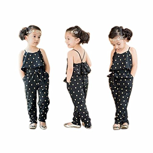 Goodlock Children Kids Fashion Rompers Girls Love Heart Straps Rompers Jumpsuits Piece Pants Clothing (Size:3T) (Gold Floral Heart)