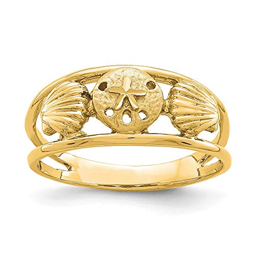 14k Yellow Gold Brushed Sealife Band Ring Size 7.00 Sea Shell Life Fine Jewelry Gifts For Women For Her ()