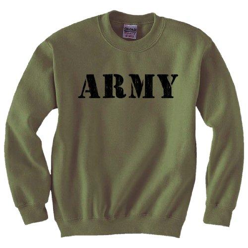 (Army Stencil Print Crewneck Sweatshirt in Military Green - Medium)