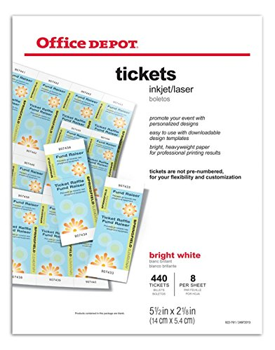 Amazon Office DepotR Laser Inkjet Tickets Pack Of 440 Cover Stock Papers Products