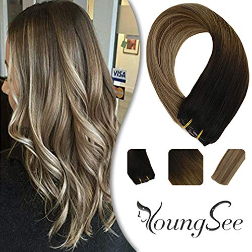 YoungSee 14' Balayage Clip in Hair Extensions Darkest Brown Fading to Medium Brown with Ash Blonde...