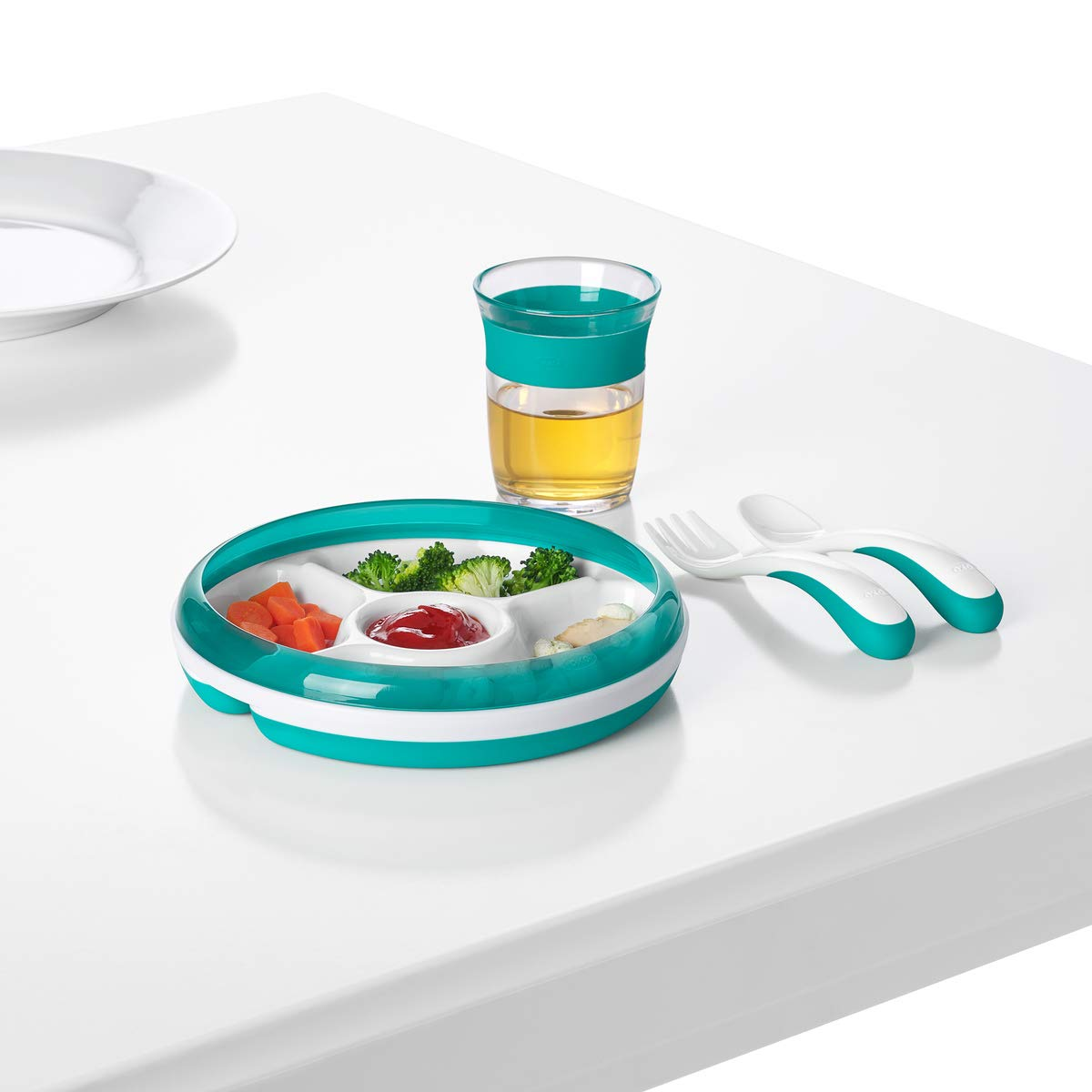 OXO Tot Divided Plate With Removable Training Ring And Dipping Center Teal