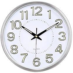ICIUFNVK Wall Clock Decoration Metal Quartz Modern Digital Mute Luminous Living Room -B 14 inches