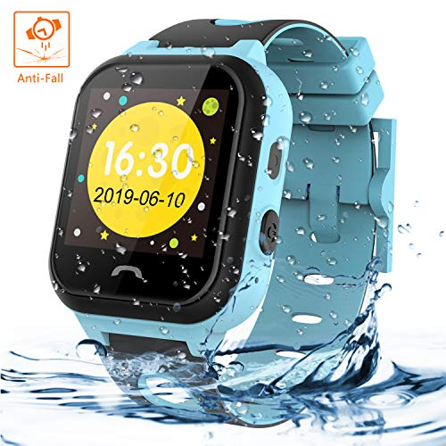 Themoemoe Kids Smartwatch Phone, Kids Smartwatch Waterproof Anti-Fall 2G GPS/LBS Tracker SOS Camera Games Compatible with Android iOS(Blue) (Track The Present Location Of Mobile No)