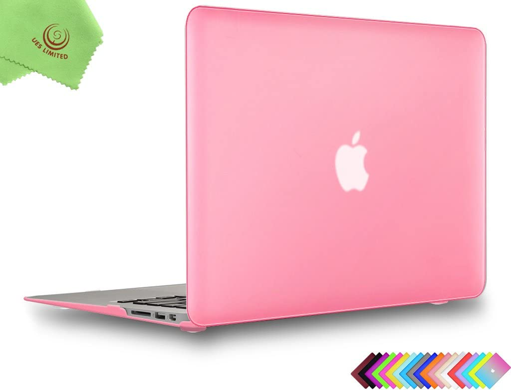 UESWILL Smooth Matte Hard Shell Case Cover for 2010-2017 Release MacBook Air 13 inch (Model A1466 / A1369) + Microfibre Cleaning Cloth, Pink